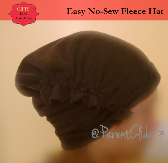 14475c64596 Gifts Kids Can Make - Easy No-Sew Fleece Hat